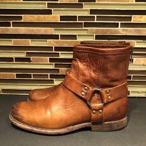 Frye Phillip Harness Short Boot Cognac Size 7